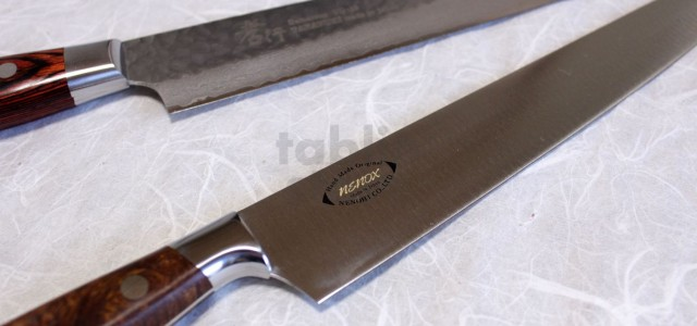 A Comparison Between Nenohi Nenox Sujihiki / Slicer and Sakai takayuki Damascus Sujihiki / Slicer — Item detail — Blade material Nenohi: High Carbon Rust-resistant Steel, *made from one sheet […]